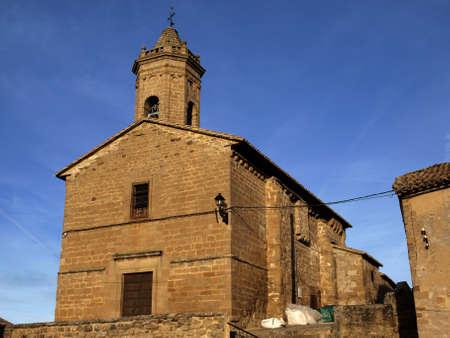 romanesque: the romanesque and baroque chuch of Santiago in  olejua  navarre