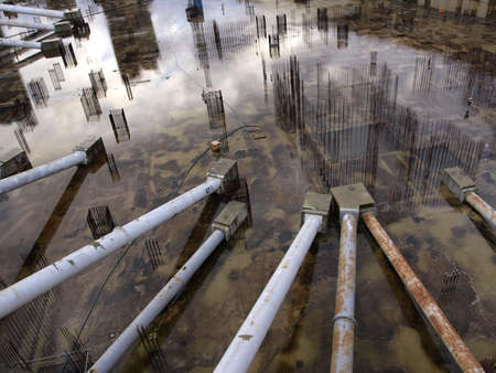wet foundations of a new building in London photo