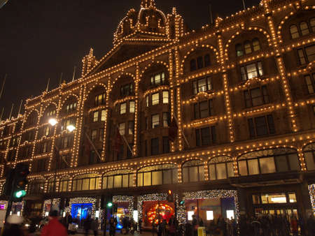 building covered by christmast decoration in London photo