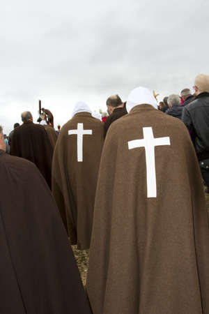 flagellation: Picaos penitents in San vicente de la Sonsierra in La Rioja Stock Photo