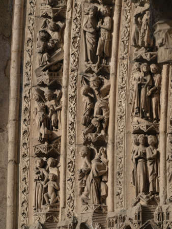 castilla: sculptures of the gothic cathedral of Leon in Castilla - Spain