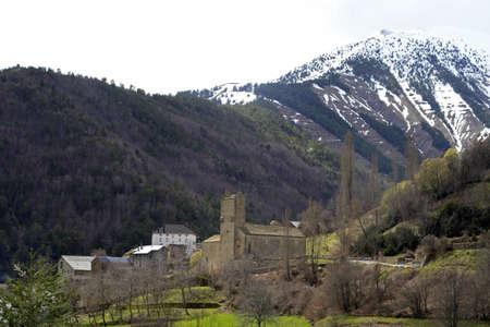 San Miguel church in Linas de Broto in the Pyrenees. Huesca province. Aragon, Spain