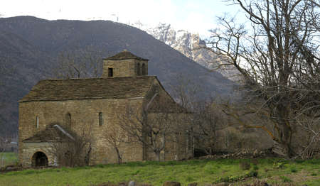 Tower and apse of the Romanesque church of Santa Eulalia in Orós Bajo - Biescas - Serrablo - Alto Gallego - Province of Huesca - Aragón - Aragonese Pyrenees