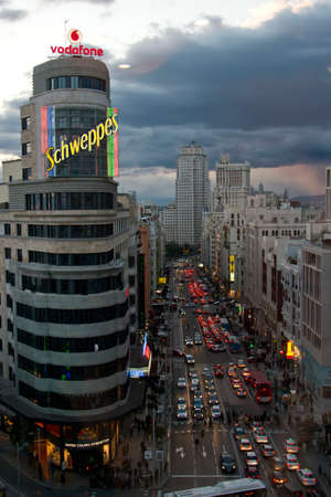 Gran Via, one of the main streets in Madrid