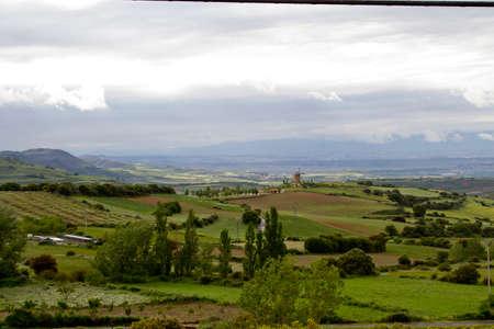 mill valley: wind ancient mill in Ocon Valley in La Rioja Stock Photo