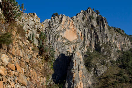 geological formation: Geological formation in Anguiano (La Rioja - Spain) Stock Photo