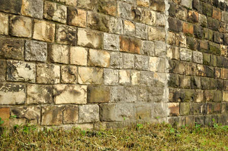 Slanted dirty brick wall with grass  Stock Photo - 7326727