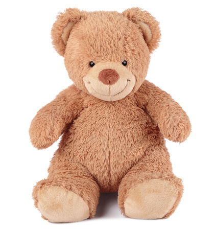 happy brown teddy bear sitting on a white background photo