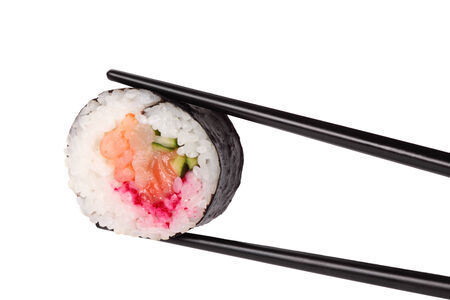 hashi: one roll sushi closeup, isolated on white