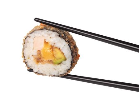 hashi: one roll sushi closeup, isolated on white