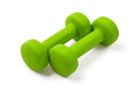 neoprene: two green dumbbell with neoprene cover, equipment for fitness