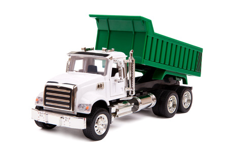 dump truck: toy truck, dump truck on white background