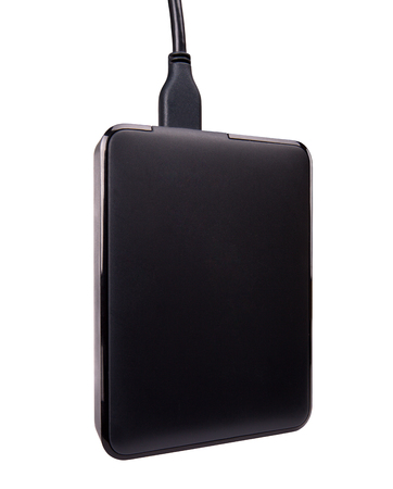portable hard disk: black external hard disk drive, portable storage, isolated on white
