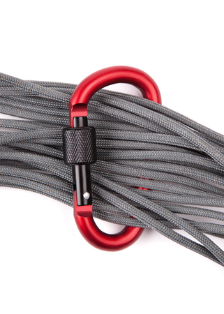 rappel: coil of rope with a red carabiner