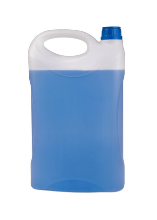 antifreeze: canister with winter windsheld washer. Chemical blue in a white plastic bottle