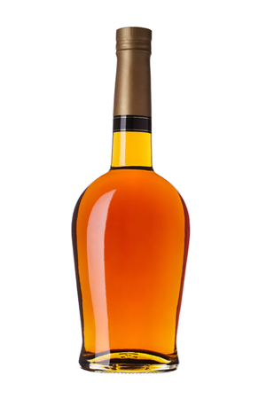 without: bottle of brandy without label, isolated on white