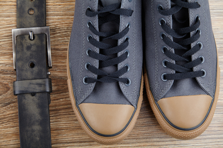 men's clothing: mens clothing, fashion accessories on wooden background