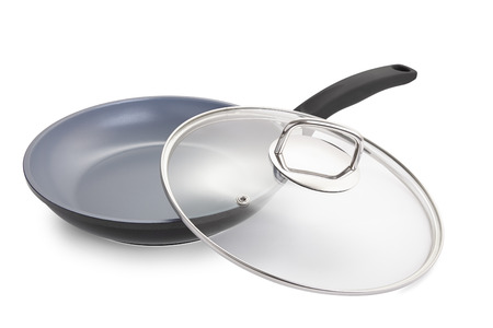 pan with glass lid, ceramic non-stick cookware. Isolated on white Stock Photo