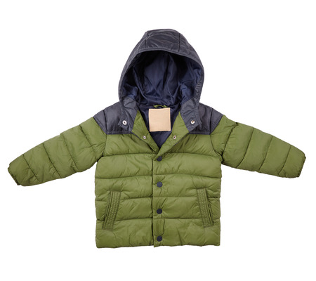 warm down jacket, childrens green jacket isolated on white