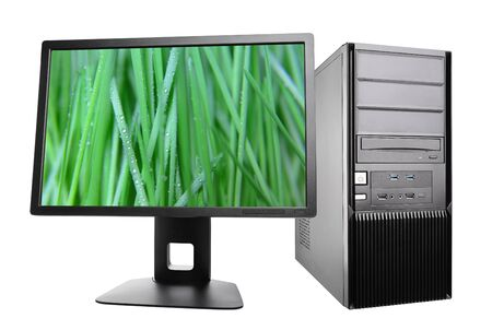 workstation: desktop computer with a monitor. workstation isolated on white