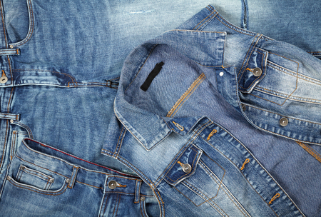 jeanswear: layout jeanswear clothing close-up top view