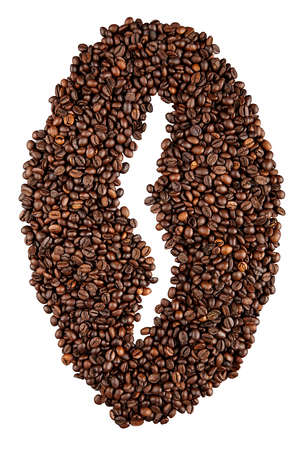 Group of coffee beans as a symbol of one a saturated