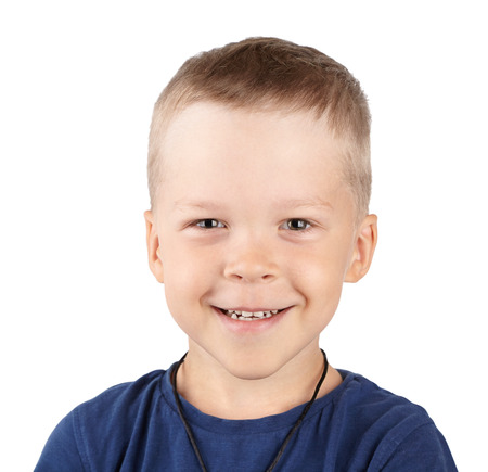 boy of European appearance, smiling at the camera close-up. one happy child, expresses positive emotions Stock Photo
