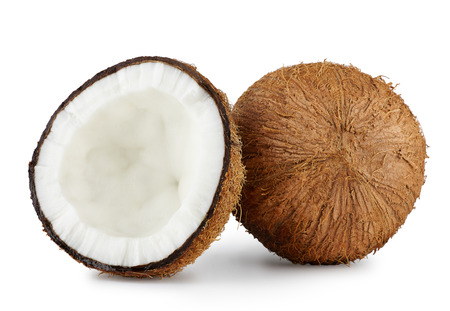 chopped coconut close up on white background, appetizing coconut pulp Stockfoto