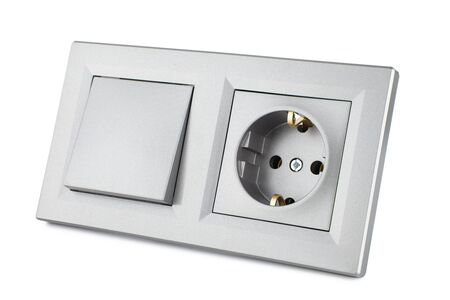 European standard electrical switch and socket, set for household electrical wiring isolated on white Фото со стока