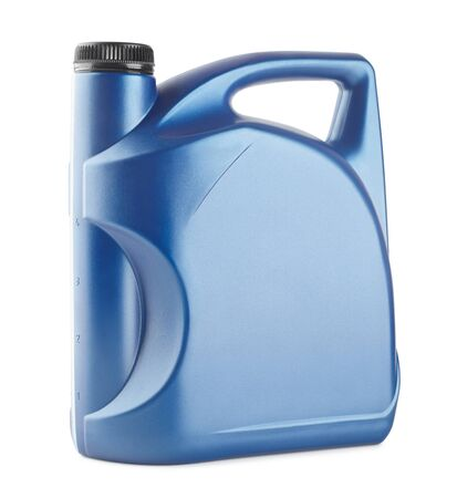 blue plastic canister for lubricants without label, container for chemicals isolated on white