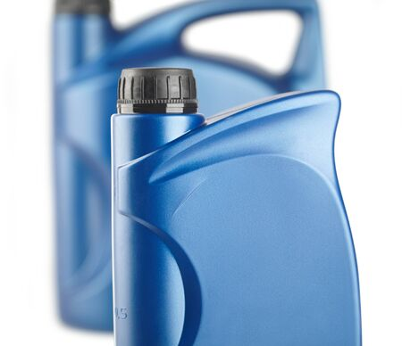 group of blue plastic canister for lubricants without label, container for chemistry close-up