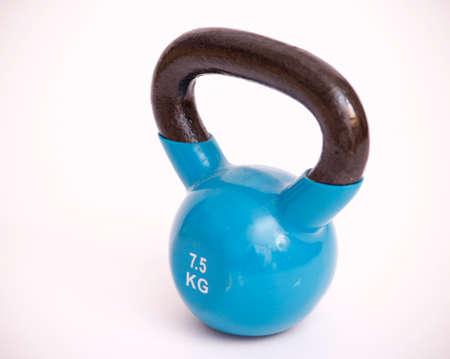 kettle bell: blue kettlebell with black handle 7.5 kilograms Stock Photo