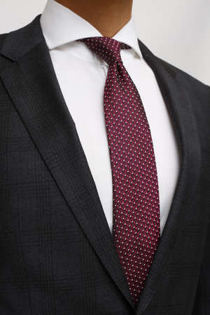 outerwear: close up of man in a suit with tie and handkerchief