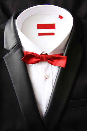 흰 셔츠와 빨간 비행 검은 sakko의 정물 스톡 콘텐츠