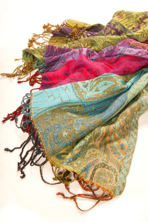 scarves: Still life of colorful scarves, draped on table, isolated neckerchief, Women Accessories
