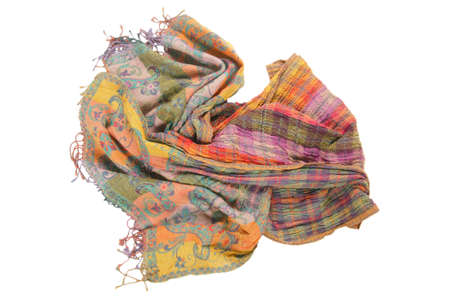 Still life of colorful scarves, draped on table, isolated neckerchief, Women Accessories