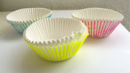 Molds for making colorful cupcakes photo