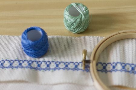 cable stitch: Cross stitch embroidery motive Stock Photo