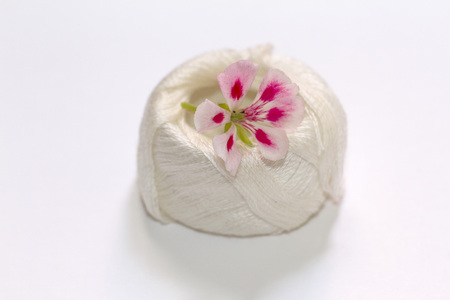 A two-tone geranium flower of pink on embroidery threads Banco de Imagens