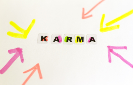 Karma word written in black letters on neutral background Stock Photo
