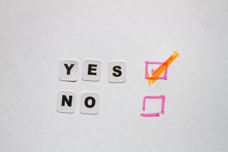 Yes or no answers written in black letter Stock Photo