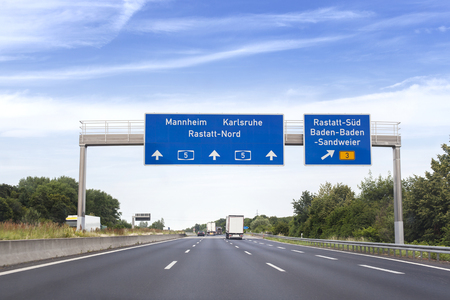 German highway, road sign