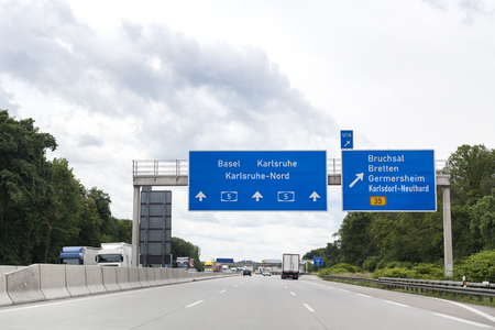 karlsruhe: German highway, road sign - low-angle view Stock Photo