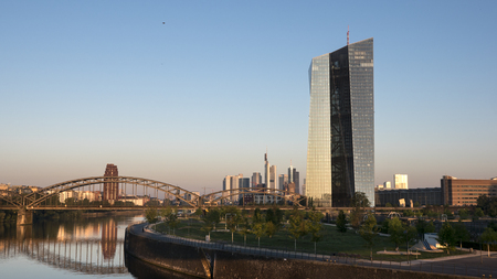 central european: ECB, European Central Bank, River Main Frankfurt at dawn