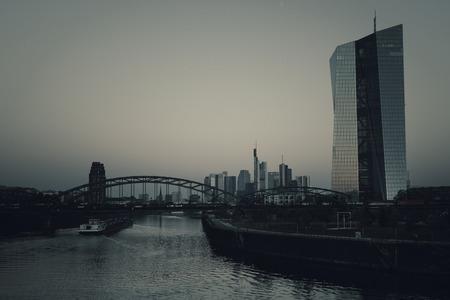 ecb: ECB, European Central Bank, Skyline Frankfurt at dawn - desaturated image