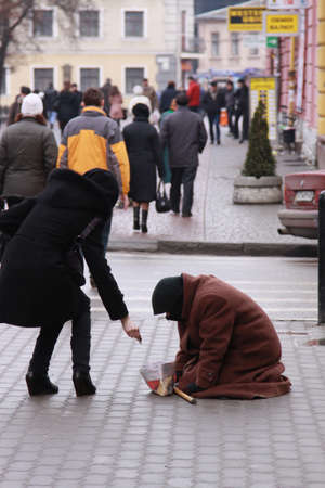 famine: Ivano-Frankivsk,Ukraine, on January, 19th 2011. The person, asking money