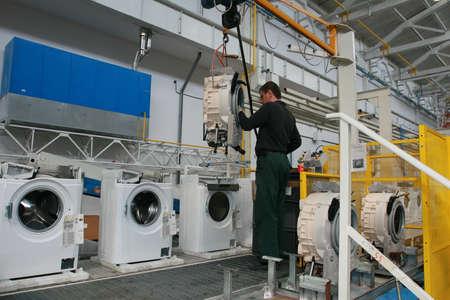 lopende band: Productie van wasmachines Redactioneel