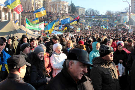 european integration: KYIV, UKRAINE - 25 February, 2014   rally against the Ukrainian government, the Russian occupation, President Yanukovych  For European Integration  Yevromaidan  Editorial