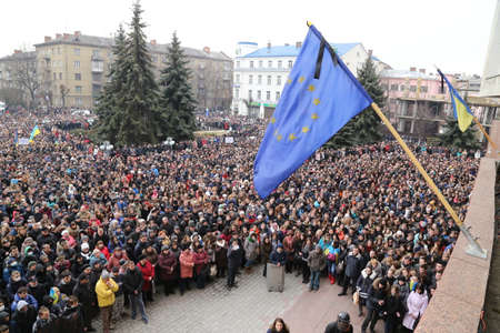 european integration: Ivano-Frankivsk, UKRAINE - 27 February, 2014   rally against the Ukrainian government, the Russian occupation, President Yanukovych  For European Integration  Yevromaidan  Editorial