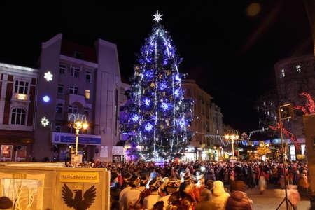 holiday lighting: Ivano-Frankivsk, Ukraine - December 19, 2014: Holiday lighting of the Christmas tree. Editorial